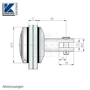 Glaspunkthalter mit Zierschraube D70 mit Gabelanschluß für Wandanker - Abmessungen