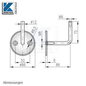 Handlaufhalter für Handlauf aus Edelstahl, Handlaufträger gebogen zum Anschweißen des Handlaufes, Ronde gedreht mit Fase - Abmessungen