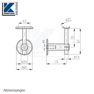 Handlaufhalter aus Edelstahl, gerade, mit Handlaufträger 14 mm und Anschraubplatte - Abmessungen
