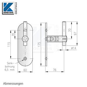 Handlaufhalter für Handlauf aus Edelstahl, mit langer Wandplatte und Senkborhungen 6,5 mm - Abmessungen
