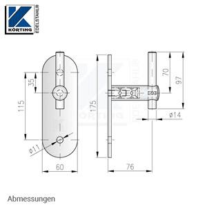 Handlaufhalter für Handlauf aus Edelstahl, D25 mit Handlaufaufträger Rd14 und langer Wandplatte - Abmessungen