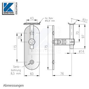 Handlaufhalter mit langer Wandplatte, Handlaufträger mit Anschraubplatte - Abmessungen