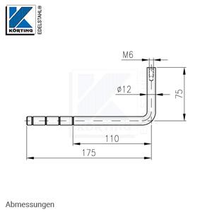 Handlaufhalter 90° gebogen zum Einkleben, mit M6 und Kleberillen - Abmessungen