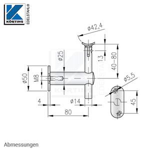 Edelstahl Handlaufhalter, höhenverstellbar mit Gelenk und Anschraubplatte - Abmessungen