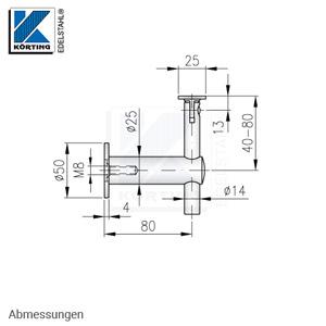 Edelstahl Handlaufhalter, höhenverstellbar mit Gelenk und flacher Anschraubplatte - Abmessungen