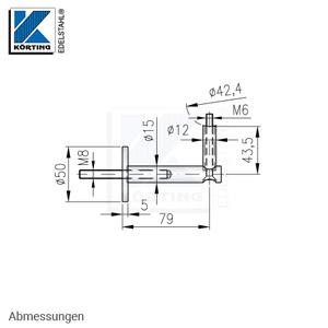 Handlaufhalter mit Senkschraube M6 und Fräsung für Rohr 42,4 mm - Abmessungen
