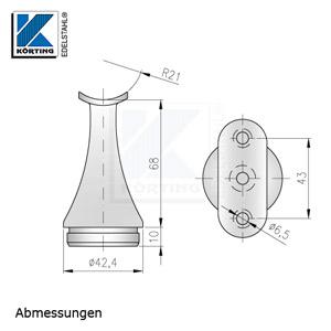 Handlaufstütze mit Anschraubplatte zum Einkleben in Edelstahlrohr 42,4x2,0 mm - Abmessungen