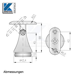 Handlaufstütze mit Gelenk und Anschraubplatte zum Einkleben - Abmessungen