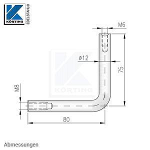 Handlaufträger 12 mm, 90° gebogen, mit Innengewinde M8 und Innengewinde M6 - Abmessungen