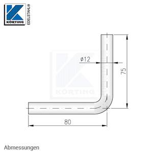 Handlaufträger aus Edelstahl 12 mm, 90° gebogen, zum Anschweißen - Abmessungen