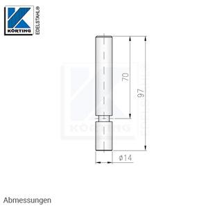 Handlaufträger 14 mm,  gerade, mit Arretierungsrille - Abmessungen