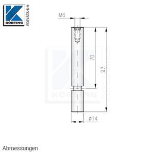 Handlaufträger,  gerade, mit Arretierungsrille und Innengewinde M6 für Anschraubplatte - Abmessungen