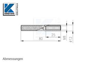 Innengewindeanker M8 x 80 mm - Abmessungen