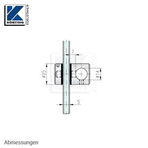 Glaspunkthalter mit Zierschraube D25 - Abmessungen