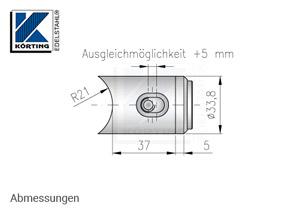 Querrohrverschraubung für Pfosten aus Rohr 42,4 mm und Querstreben aus Rohr 33,7 mm - Abmessungen