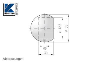 Abmessungen Rohrabschlusskugel mit Sicherungsstift M6 zum Aufstecken, für Edelstahlrohr 42,4 mm, Werkstoff 1.4301, Oberfläche fein gedreht