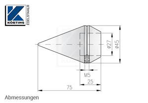 Rohrabschluss - Zierspitze für Rohr 26,9 mm - Abmessungen