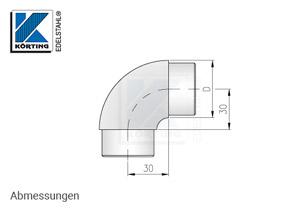 Rohrbogen 90° aus Edelstahl mit Bund zum Kleben in Rohr 42,4x2,0 mm - Abmessungen