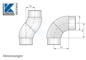 Rohrbogen verdrehbar zum zum Einkleben in Edelstahlrohr 42,4 x 2,0 mm - Abmessungen