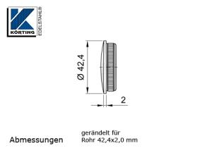 Rohrstopfen mit Rändelung,  gewölbt, für Edelstahlrohr 42,4x2,0 mm, Werkstoff 1.4571, Oberfläche fein gedreht