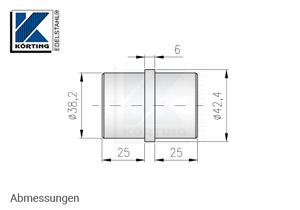 Rohrverbinder zum Einkleben in Rohr 42,4x2,0 mm - Abmessungen