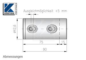 Rohrverschraubung für Rohr 42,4 mm V2A - Abmessungen