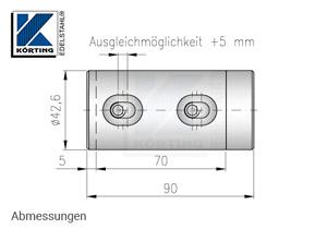 Rohrverschraubung für Rohr 42,4 mm V4A - Abmessungen