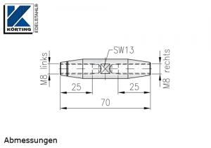 Seilspanner Edelstahl mit Innengewinde M8 links und rechts - Abmessungen