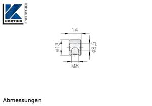 Seilstopper ohne Bund aus Edelstahl zur Lastabtragung an Zwischenpfosten - Abmessungen