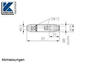 Seilverschraubung mit Rechtsgewinde aus Edelstahl zur Selbstmontage auf Seil 6 mm - Abmessungen