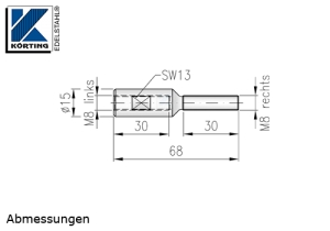 Seilspanner aus Edelstahl mit Aussengewinde M8 rechts und Innengewinde M8 links - Abmessungen