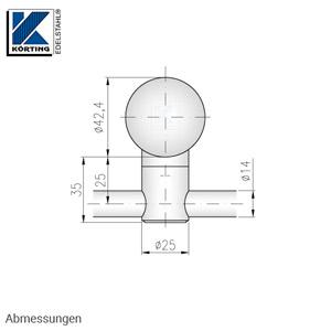 Stabhalter für Geländerpfosten zur Montage von Querstreben 14 mm - Abmessungen