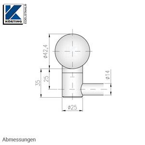 Stabhalter für Geländerpfosten für Rundmaterial 14 mm, mit Sackbohrung links geschlossen - Abmessungen