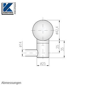Stabhalter für Geländerpfosten für Rundmaterial 14 mm, mit Sackbohrung rechts geschlossen - Abmessungen