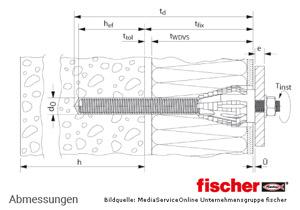 Fischer Abstandsmontagesystem Thermax 16/170-M12 - Vollstein - Montage
