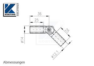 Verbinder für Rundmaterial 12 mm mit Gelenk - Abmessungen
