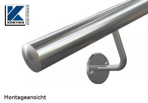 Handlaufhalter für Handlauf aus Edelstahl, Handlaufträger gebogen zum Verschrauben mit M8 Gewindestift, ohne Abdeckrosette