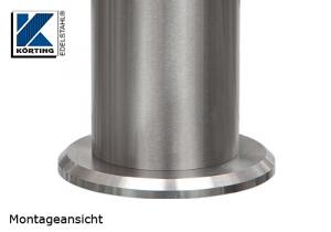 Edelstahlronde als Auflagevergrößerung für die Montage von Pfosten aus Edelstahl mit Distanzstücken bei Pfostenbefestigungen