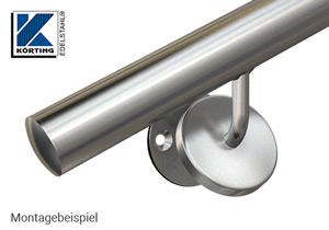 Montagebeispiel Abdeckrosette 76x12 mm auf Handlaufhalter-Ronde mit Gummiring