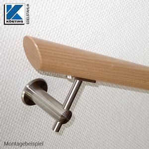 Anschraubplatte aus Edelstahl - Montagebeispiel Handlaufhalter zur Montage eines Holzhandlaufes