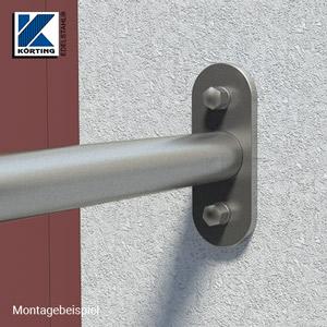 Edelstahl Wandplatte 160x60x10 mm - Montagebeispiel Handlaufbefestigung an der Wand