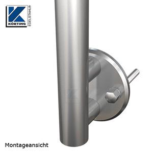 Montageansicht Edelstahl Ankerplatte 120x10 mm mit Distanzstücken und Geländerpfosten