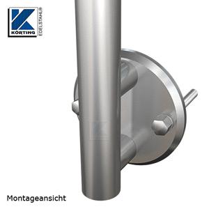 Montageansicht Edelstahl Ankerplatte 140x12 mm mit Distanzstücken und Geländerpfosten