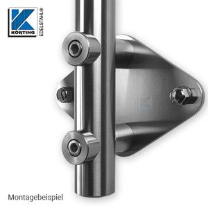 Edelstahl Ankerplatte 164x140x8 mm - Montagebeispiel mit Pfostenhalter für Zylinderschrauben und Distanzstücke