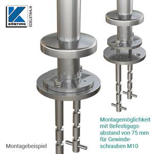 Bodenanker - Montagebeispiel: demontierbarer Edelstahlpfosten mit Ronde ø100 mm und Abdeckrosette
