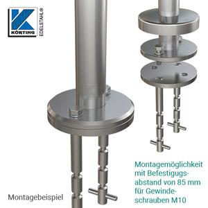 Bodenanker - Montagebeispiel: demontierbarer Edelstahlpfosten mit Ronde ø121 mm und Abdeckrosette