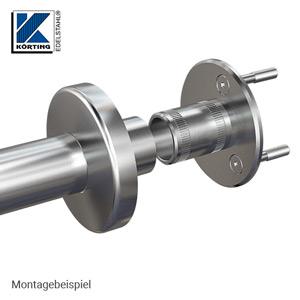 Edelstahl Ronde mit Rohrhülse für Rohr 42,4x2,0 mm - Montagebeispiel