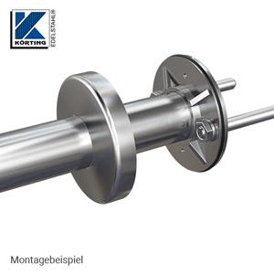 Edelstahl Ronde 100x8 mm aus Guss mit Versteifungsrippen und Bund - Montagebeispiel