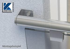 Edelstahl Winkel für Edelstahlrohre 42,4 mm geschliffen - Montagebeispiel Fenstergitter mit Glas