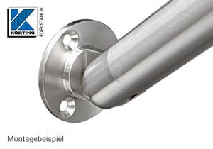 Wandanschluss - Ronde aus Edelstahl mit Gelenk - Montageansicht - Handlauf Anschluss aufwärts